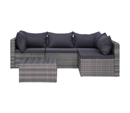 vidaXL 5-dijelna vrtna garnitura od poliratana s jastucima siva