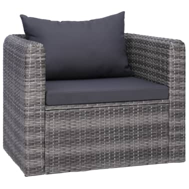 vidaXL Garden Chair with Cushion and Pillow Poly Rattan Gray[1/6]