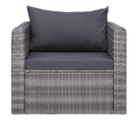 vidaXL Garden Chair with Cushion and Pillow Poly Rattan Gray[2/6]