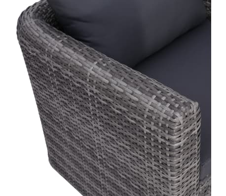 vidaXL Garden Chair with Cushion and Pillow Poly Rattan Gray[4/6]