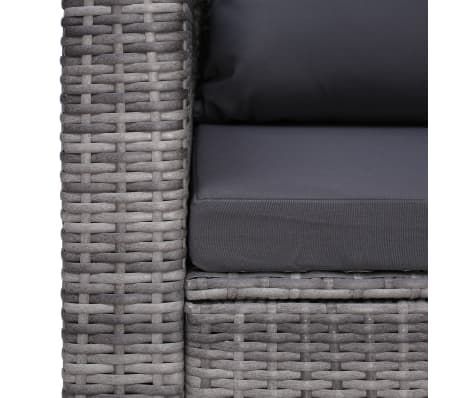 vidaXL Garden Chair with Cushion and Pillow Poly Rattan Gray[5/6]