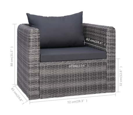 vidaXL Garden Chair with Cushion and Pillow Poly Rattan Gray[6/6]