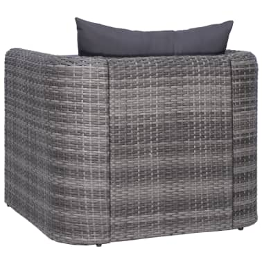 vidaXL Garden Chair with Cushion and Pillow Poly Rattan Gray[3/6]