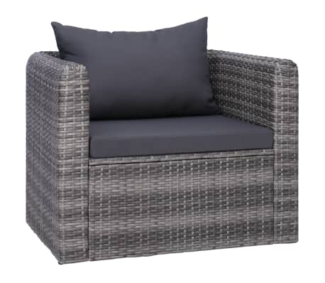 Details about vidaXL Garden Chair with Cushion and Pillow Poly Rattan Gray Single Sofa Chair