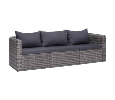 vidaXL 3 Piece Garden Sofa Set with Cushions Grey Poly Rattan