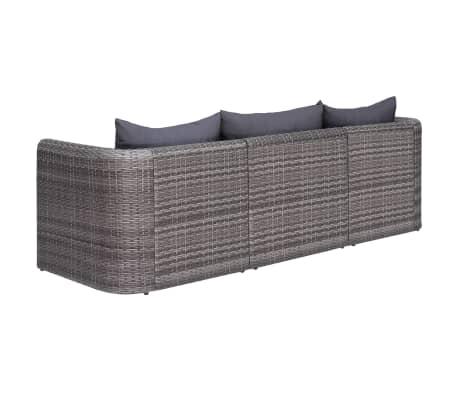 vidaXL 3-delige Loungeset met kussens poly rattan grijs[3/7]