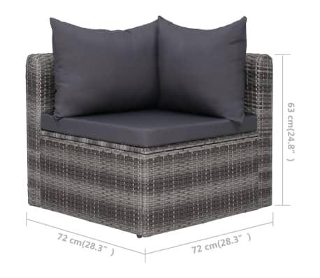 vidaXL 3-delige Loungeset met kussens poly rattan grijs[7/7]