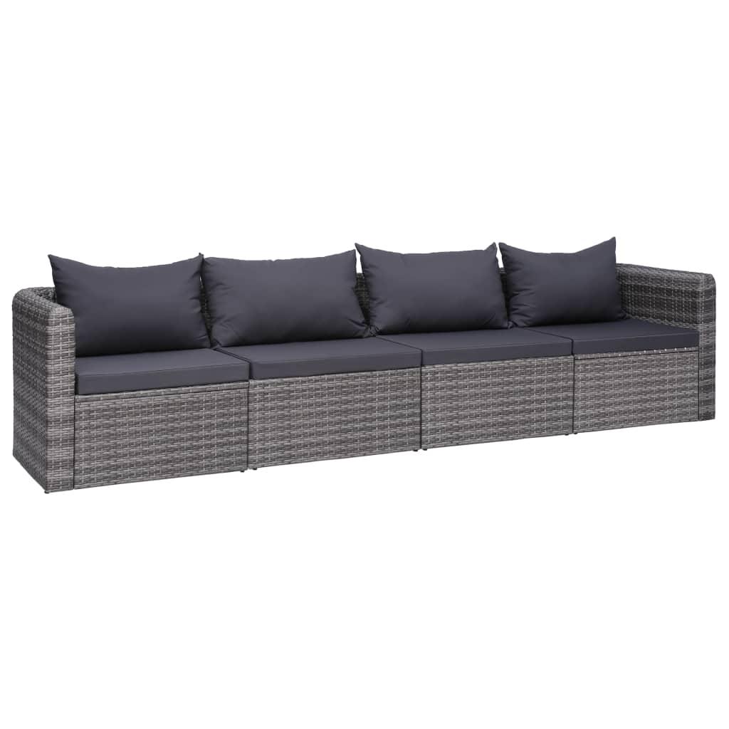 vidaXL 4dílná zahradní sedací souprava s poduškami šedá polyratan