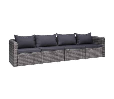vidaXL 4 Piece Garden Sofa Set with Cushions Gray Poly Rattan