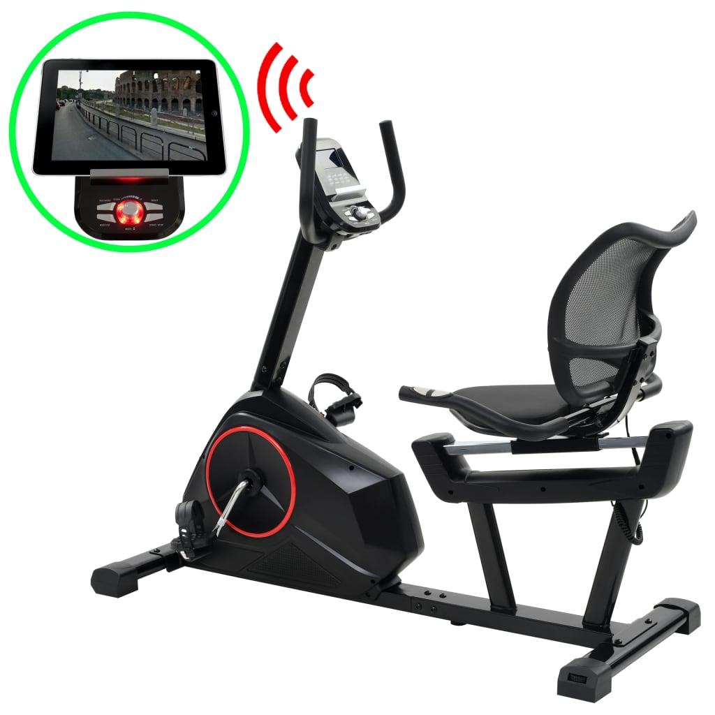 vidaXL Bicicletă de fitness orizontală cu măsurare puls, programabilă vidaxl.ro