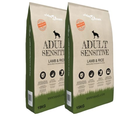 vidaXL Nourriture pour chiens Adult Sensitive Lamb & Rice 2 pcs 30 kg
