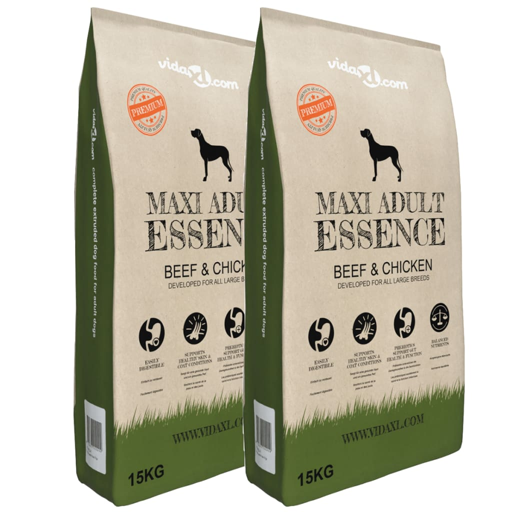 vidaXL Granule pro psy Maxi Adult Essence Beef & Chicken, 2 ks, 30 kg