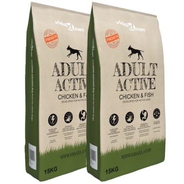 vidaXL Premium hundmat torr Adult Active Chicken & Fish 2 st 30 kg[1/10]