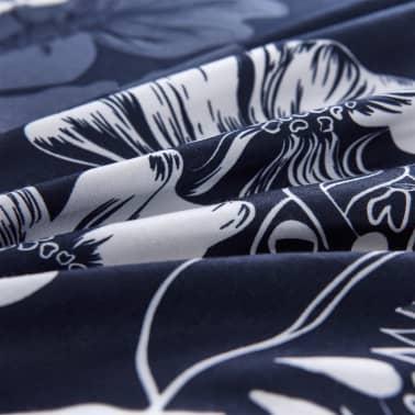 vidaXL Bäddset 2 delar blommor 155x220/80x80 cm marinblå[2/3]