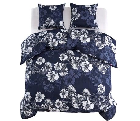 vidaxl 3 tlg bettw sche set blumenmuster 200x220 80x80 cm marineblau g nstig kaufen. Black Bedroom Furniture Sets. Home Design Ideas