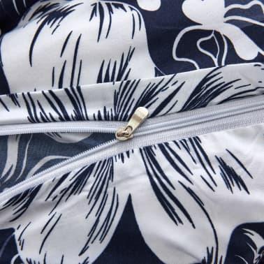vidaXL Bäddset 3 delar blommor 200x220/80x80 cm marinblå[3/3]