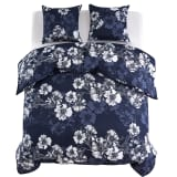 vidaXL Duvet Cover Set 3 Piece Floral Design 240x220/60x70cm Navy
