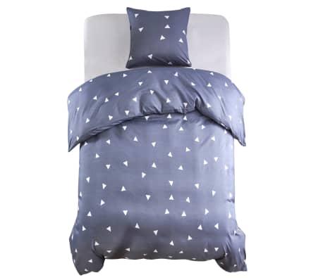 vidaXL Комплект спално бельо дизайн триъгълници сив 140x220/60x70 см