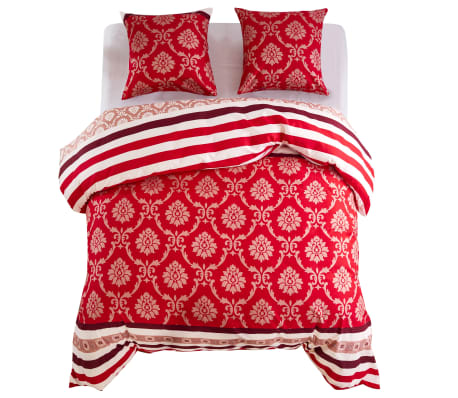 vidaXL Duvet Cover Set Striped Design Red 200x200/80x80 cm