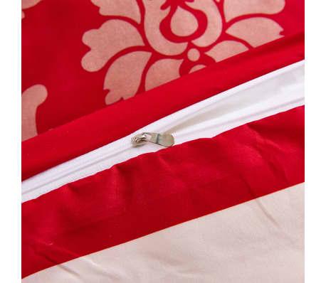 vidaXL Bäddset 3 delar ränder 200x220/80x80 cm röd[3/3]