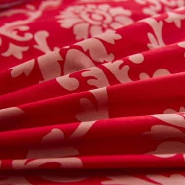 vidaXL Bäddset 2 delar ränder 140x200/60x70 cm röd[2/3]