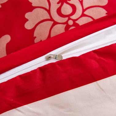 vidaXL Bäddset 2 delar ränder 140x200/60x70 cm röd[3/3]