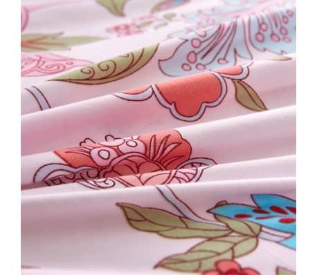 vidaXL Bäddset ränder och blommor rosa 155x220/80x80 cm[2/3]
