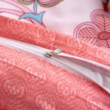 vidaXL Set husă pilotă 3 piese model floral/dungi 200x200/80x80 cm roz[3/3]