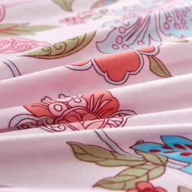 vidaXL 3-tlg. Bettwäsche-Set Blumen/Streifen 240x220/80x80 cm Rosa[2/3]