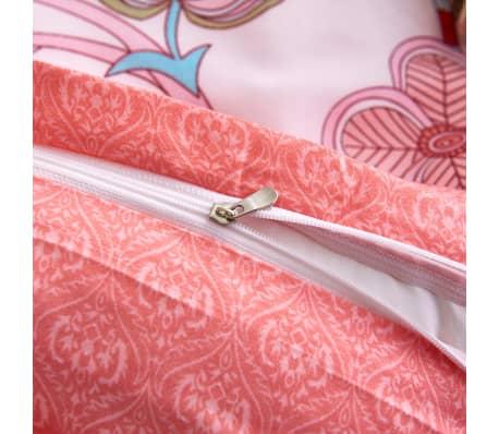 vidaXL Bäddset ränder och blommor rosa 140x220/60x70 cm[3/3]