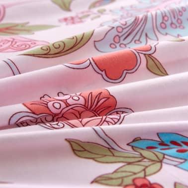 vidaXL Bäddset ränder och blommor rosa 140x220/60x70 cm[2/3]