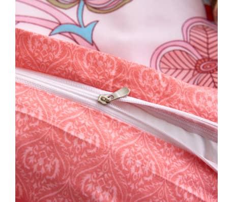 vidaXL Set husă pilotă 3 piese model floral/dungi 240x220/60x70 cm roz[3/3]