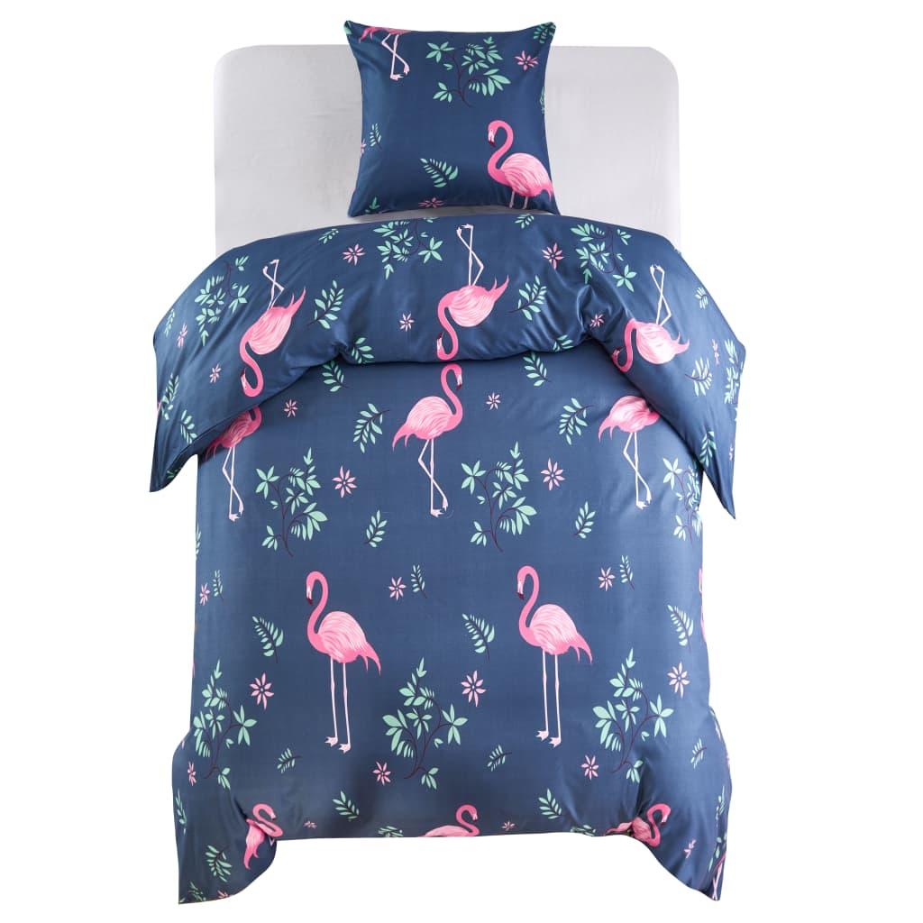 vidaXL Set husă pilotă, flamingo, bleumarin/roz, 155x220/80x80 cm vidaxl.ro