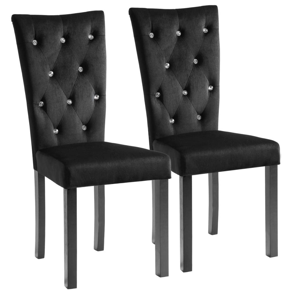 vidaXL Καρέκλες Τραπεζαρίας 2 τεμ. Μαύρες Βελούδινες