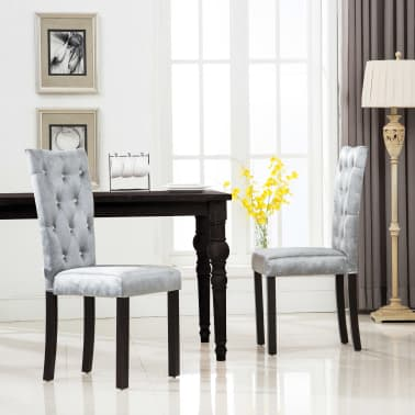 vidaxl esszimmerst hle 2 stk samt silbern g nstig kaufen. Black Bedroom Furniture Sets. Home Design Ideas
