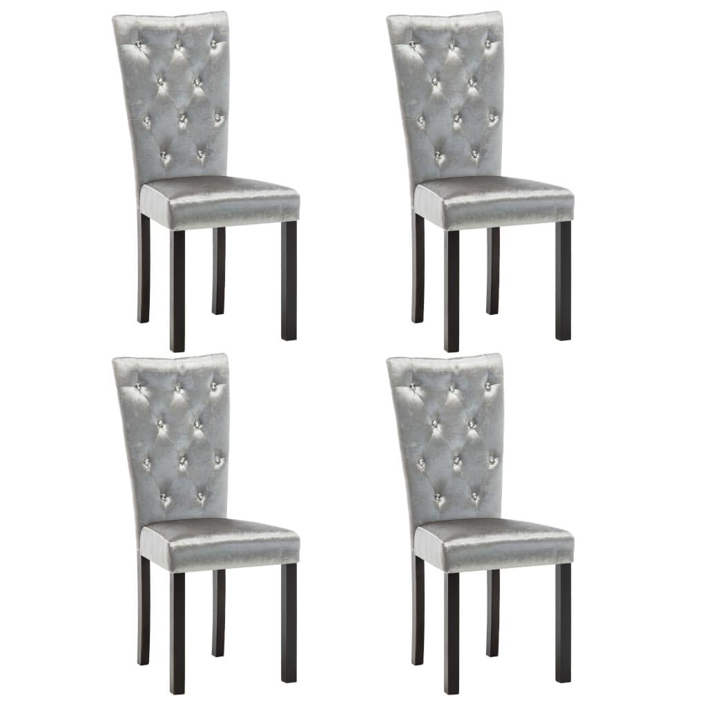 vidaXL Καρέκλες Τραπεζαρίας 4 τεμ. Ασημί Βελούδινες
