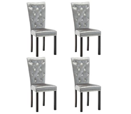 vidaXL Jídelní židle 4 ks stříbrné samet