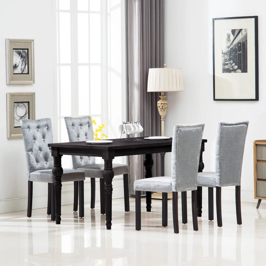 vidaXL Jídelní židle 4 ks sametové stříbrné