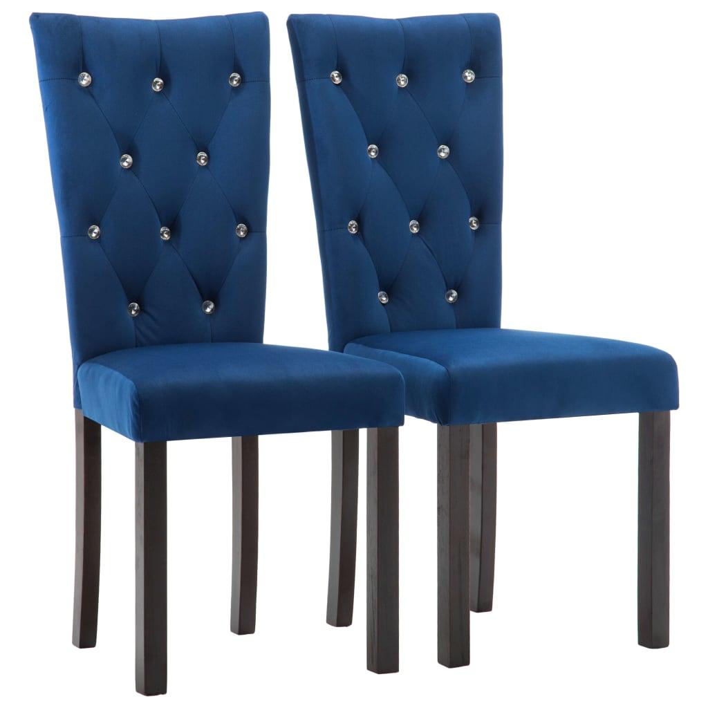 vidaXL Καρέκλες Τραπεζαρίας 2 τεμ. Σκούρο Μπλε Βελούδινες
