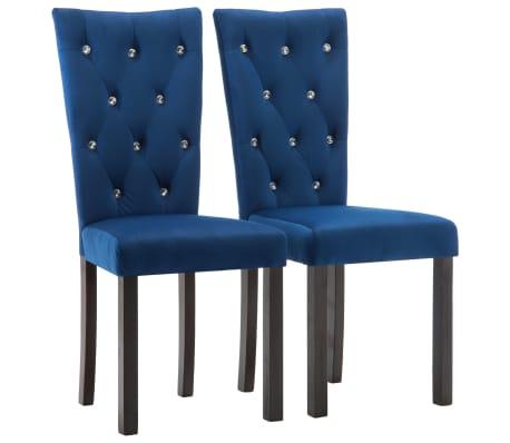 vidaXL Chaises de salle à manger 2 pcs Bleu foncé Velours
