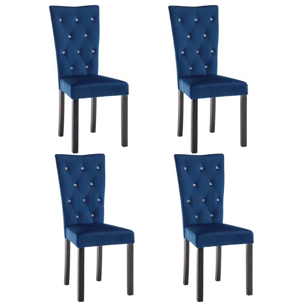 vidaXL Καρέκλες Τραπεζαρίας 4 τεμ. Σκούρο Μπλε Βελούδινες