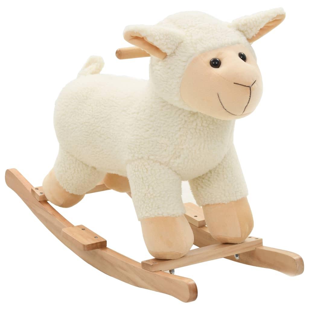 Houpací plyšové zvířátko ovečka 78 x 34 x 58 cm bílé