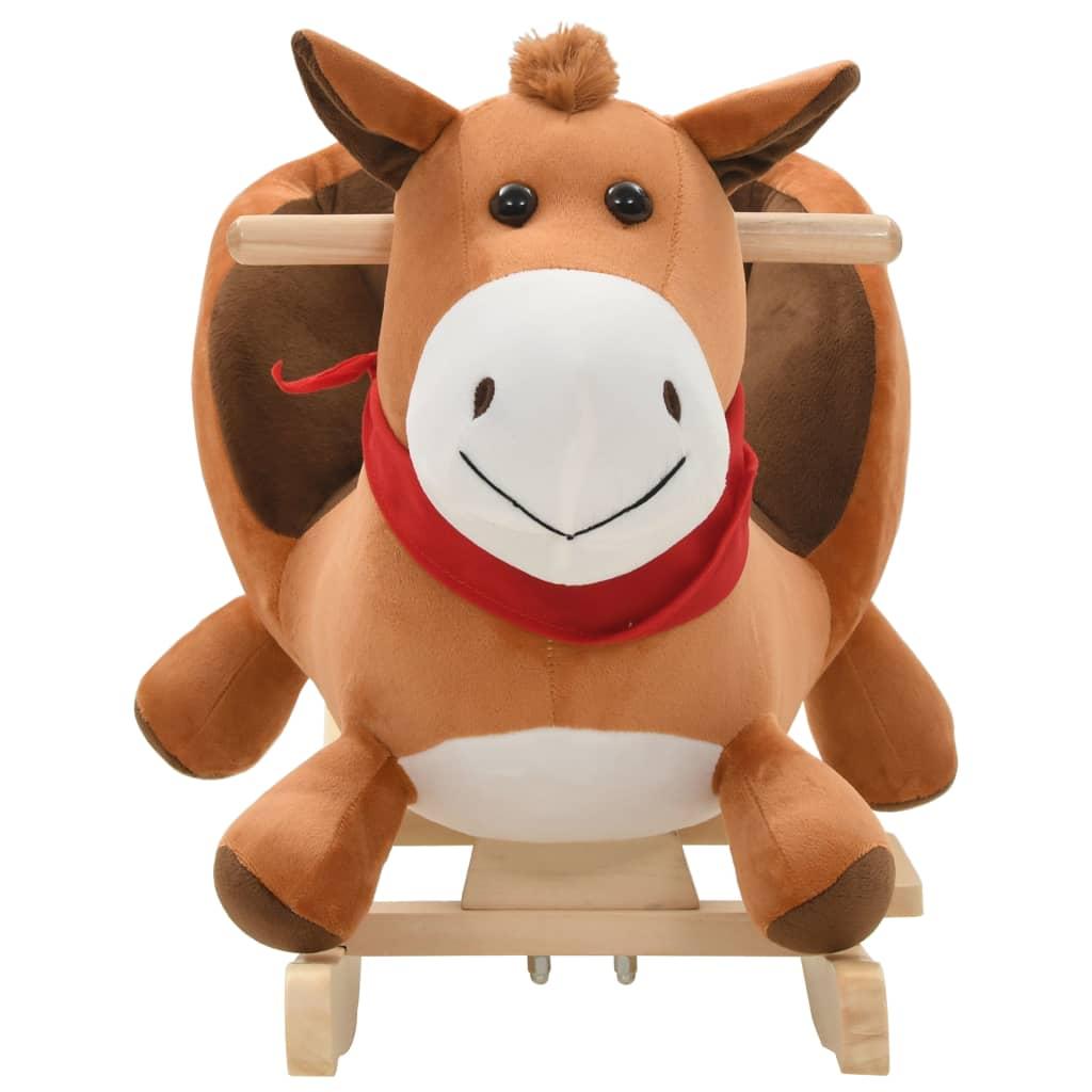 Hobbeldier paard met rugleuning 60x32x50 cm pluche bruin