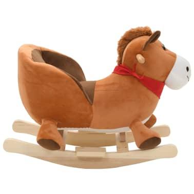 vidaXL Schaukeltier Pferd mit Rückenlehne Plüsch 60 x 32 x 50 cm Braun[2/5]