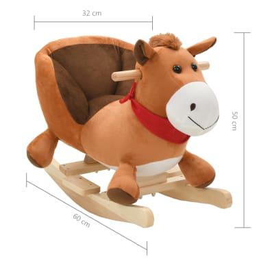 vidaXL Schaukeltier Pferd mit Rückenlehne Plüsch 60 x 32 x 50 cm Braun[5/5]