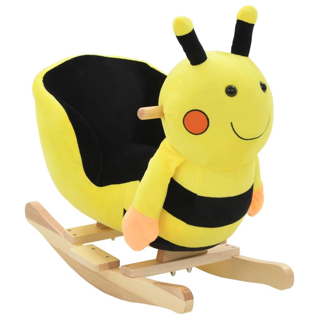 vidaXL Houpací zvířátko čmelák s opěradlem plyš 60 x 32 x 57 cm žluté