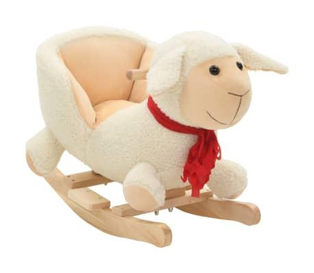 vidaXL Owca na biegunach z oparciem, pluszowa, 60x32x50 cm, biała