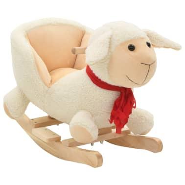vidaXL Owca na biegunach z oparciem, pluszowa, 60x32x50 cm, biała[1/5]