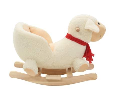 vidaXL Owca na biegunach z oparciem, pluszowa, 60x32x50 cm, biała[2/5]