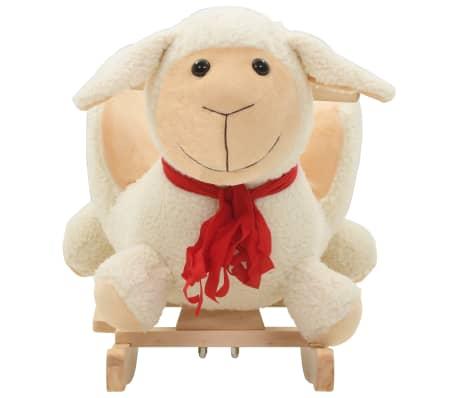 vidaXL Owca na biegunach z oparciem, pluszowa, 60x32x50 cm, biała[3/5]